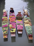 A Group of Four Women Market Traders in Boats Laden with Fruit and Flowers, Thailand Photographic Print by Gavin Hellier