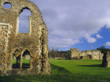 South Gabled End of the Lay Brothers Refectory and Remains of the Church Beyond, Surrey, England Photographic Print by Pearl Bucknell