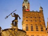 The Neptune Fountain and Town Hall Illuminated at Dusk, Dlugi Targ, Gdansk, Pomerania, Poland Photographic Print by Gavin Hellier