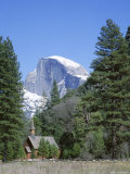 Half Dome Mountain Peak and Chapel, Unesco World Heritage Site, California Photographic Print by Roy Rainford