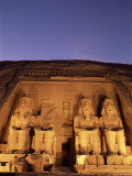 Floodlit Temple Facade and Colossi of Ramses II (Ramesses the Great), Abu Simbel, Nubia, Egypt Photographic Print by Upperhall Ltd