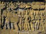 Relief Carvings on Frieze on Outside Wall of the Buddhist Temple, Borobodur, Java, Indonesia Photographic Print by Robert Harding