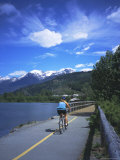 Cyclist on Valley Trail in Summer Beside Green Lake in the Whistler Valley, Whistler, Canada Photographic Print by Pearl Bucknell