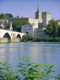 View Across River Rhone to Bridge and Papal Palace, Provence, France Photographic Print by John Miller