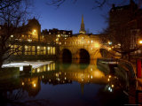 Pulteney Bridge and River Avon at Night, Bath, Unesco World Heritage Site, Avon (Somerset), England Photographic Print by Charles Bowman