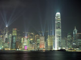 Hong Kong City Skyline Looking Across Victoria Harbour to Hong Kong Island at Night, Hong Kong Photographic Print by Gavin Hellier