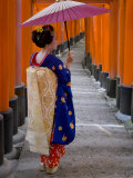 Portrait of a Geisha Holding an Ornate Umbrella at Fushimi-Inari Taisha Shrine, Honshu, Japan Photographic Print by Gavin Hellier