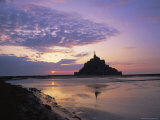 Mont-Saint-Michel at Sunset, Unesco World Heritage Site, La Manche Region, Basse Normandie, France Fotografisk tryk af Roy Rainford