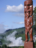 Traditional Maori Wooden Carving, North Island, New Zealand Photographic Print by D H Webster