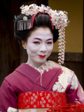 Portrait of Maiko (Apprentice Geisha) Wearing Traditional Japanese Kimono, Island of Honshu, Japan Photographic Print by Gavin Hellier