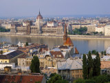 Houses and Church in Buda and the Parliament Building in Pest in Budapest Photographic Print by Gavin Hellier