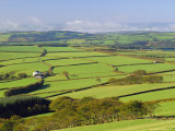 Fields on Edge of Exmoor National Park, from Shoulsbarrow Common, Challacombe, Devon, England Photographic Print by Pearl Bucknell