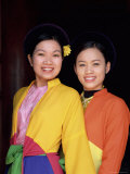 Two Smiling Vietnamese Women in Traditional Dress, North Vietnam, Vietnam Photographic Print by Gavin Hellier