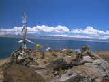 Prayer Flags Over Sky Burial Site, Lake Manasarovar (Manasarowar), Tibet, China Photographic Print by Anthony Waltham
