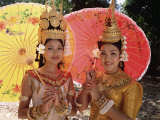 Two Traditional Cambodian Apsara Dancers, Siem Reap Province, Cambodia Photographic Print by Gavin Hellier