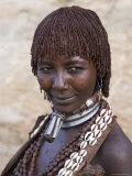 Portrait of a Woman of the Hamer Tribe, Lower Omo Valley, Southern Ethiopia Photographic Print by Gavin Hellier