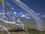 Prayer Flags on Top of Low Pass on Barga Plain, with Mount Kailas (Kailash) Beyond, Tibet, China Photographic Print by Anthony Waltham