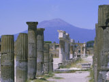 Mount Vesuvius Seen from the Ruins of Pompeii, Campania, Italy Photographic Print by Anthony Waltham