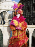 Person Dressed in Carnival Mask and Costume, Veneto, Italy Photographic Print by Lee Frost