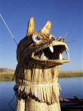 Detail of Decoration on Traditional Reed Boat, Lake Titicaca, Peru Photographic Print by Gavin Hellier