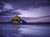 Mont Saint-Michel at Sunset, Unesco World Heritage Site, La Manche Region, Basse Normandie, France Fotografisk tryk af Roy Rainford