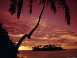 Silhouettes of Palm Trees and Desert Island at Sunrise, South Pacific, Pacific Photographic Print by Dominic Webster