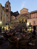 Busy Pavement Cafe at Dusk, with the Cathedral Beyond, Amalfi, Campania, Italy Photographic Print by Ruth Tomlinson