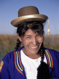 Head and Shoulders Portrait of a Smiling Uros Indian Woman, Lake Titicaca, Peru Photographic Print by Gavin Hellier