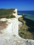 Lighthouse and Chalk Cliffs of Beachy Head Near Eastbourne from the South Downs Way, East Sussex Photographic Print by David Hughes