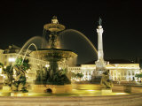 Rossio Square (Dom Pedro Iv Square) at Night, Lisbon, Portugal, Europe Photographic Print by Yadid Levy