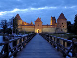 Trakai Castle Illuminated at Night, Trakai, Near Vilnius, Lithuania, Baltic States, Europe Photographic Print by Gary Cook