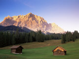 Zugspitze and Barns at Dusk, Wetterstein, Austrian Alps, Austria, Europe Photographic Print by Jochen Schlenker