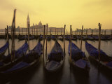 Row of Gondolas at Dawn, San Giorgio Maggiore, Venice, Veneto, Italy, Europe Photographic Print by Jochen Schlenker