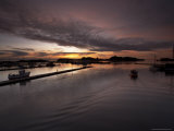 Harbour in Stavern at Dawn (With Boat), Norway Photographic Print by Joern Simensen