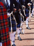 Bagpipe Players with Traditional Scottish Uniform, Glasgow, Scotland, United Kingdom, Europe Photographic Print by Yadid Levy