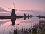 Windmills at Kinderdijk at Dawn, Near Rotterdam, Holland, the Netherlands Photographic Print by Gary Cook