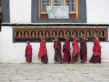 Buddhist Monks Turning Prayer Wheels, Karchu Dratsang Monastery, Jankar, Bumthang, Bhutan, Photographic Print