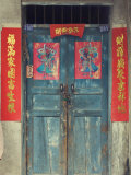 Door with Chinese Art and Characters, Xingping, Guangxi Province, China, Asia Photographic Print by Jochen Schlenker