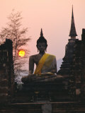 Seated Buddha Statue, Wat Mahathat, Sukhothai, Thailand Photographic Print by Rob Mcleod