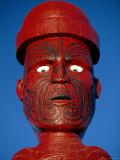 Traditional Maori 'Poupou' Figure, Whakarewarewa Village, Rotorua, New Zealand Photographic Print by Robert Francis