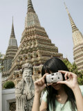 Thai Woman Taking Pictures, Wat Poo, Bangkok, Thailand, Southeast Asia, Asia Photographic Print by Angelo Cavalli