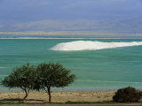 Mined Sea Salt at Shallow South End of the Dead Sea Near Ein Boqeq, Israel, Middle East Photographic Print by Robert Francis