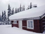 Snow Covered Log Built House, Norway, Scandinavia, Europe Photographic Print by Kim Hart
