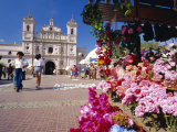 The Church of Virgin De Los Dolores and Flower Stall, Tegucigalpa, Honduras, Central America Photographic Print by Robert Francis