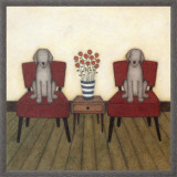 Two Dogs Framed Canvas Print by Helga Sermat