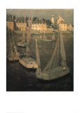 Breton Port At Moonlight Print by Henri Le Sidaner