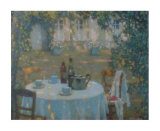 Tea on the Terrace Planscher av Henri Le Sidaner