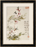 Willow and Peach Blossoms Estampe encadrée par Li Shan