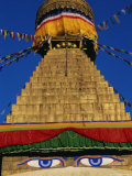 Close up of the Buddhist Stupa at Bodnath (Bodhnath) (Boudhanath), Kathmandu Valley, Nepal, Asia Photographic Print by Bruno Morandi