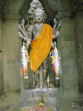 Decorated Statue, Angkor Wat, Angkor, Siem Reap, Cambodia, Asia Photographic Print by Bruno Morandi